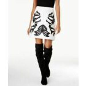 INC B/W FAUX LEATHER A-LINE SKIRT SIZE X-LARGE